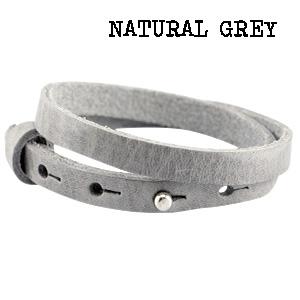 Natural grey wikkel armband leer dubbel