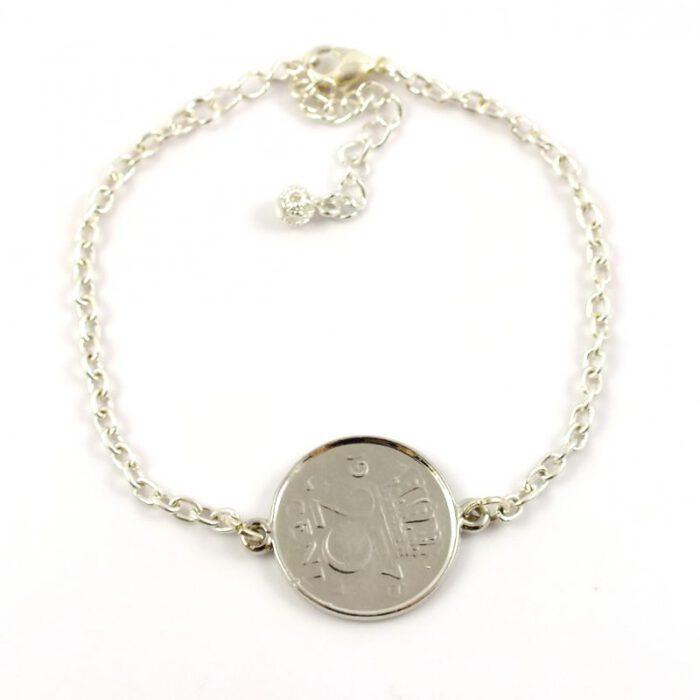Armbandje kwartje 25cent zilver