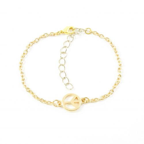 Peace armbandje goud