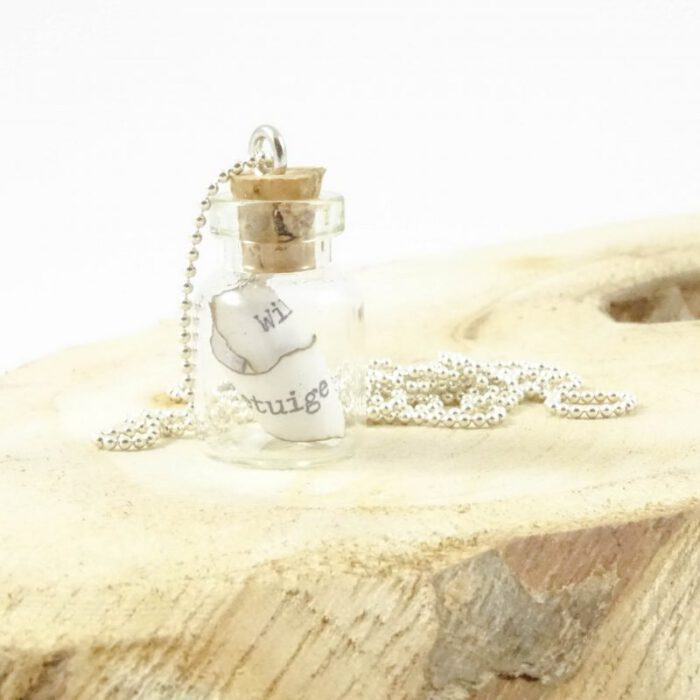Message in a bottle necklace silver plated-8712