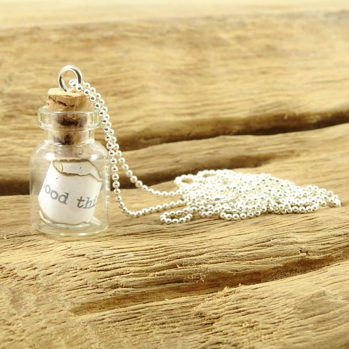 Message in a bottle ketting silver plated-0