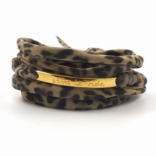 Armband panter print goud
