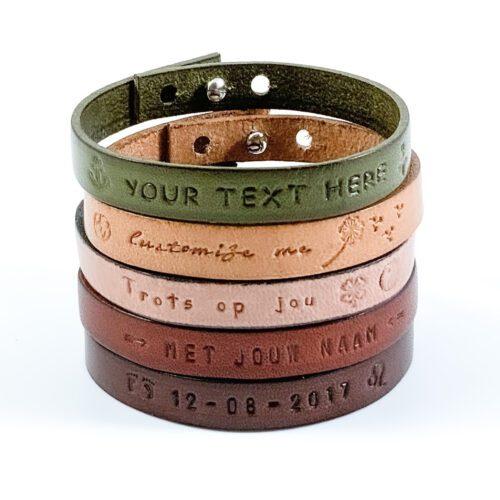 Tekst armband leer - leren armband gepersonaliseerd (9 verschillende kleuren leer)