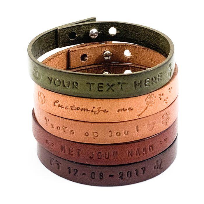Tekst armband leer leren armbanden met eigen tekst naam datum symbool sterrenbeeld gepersonaliseerd