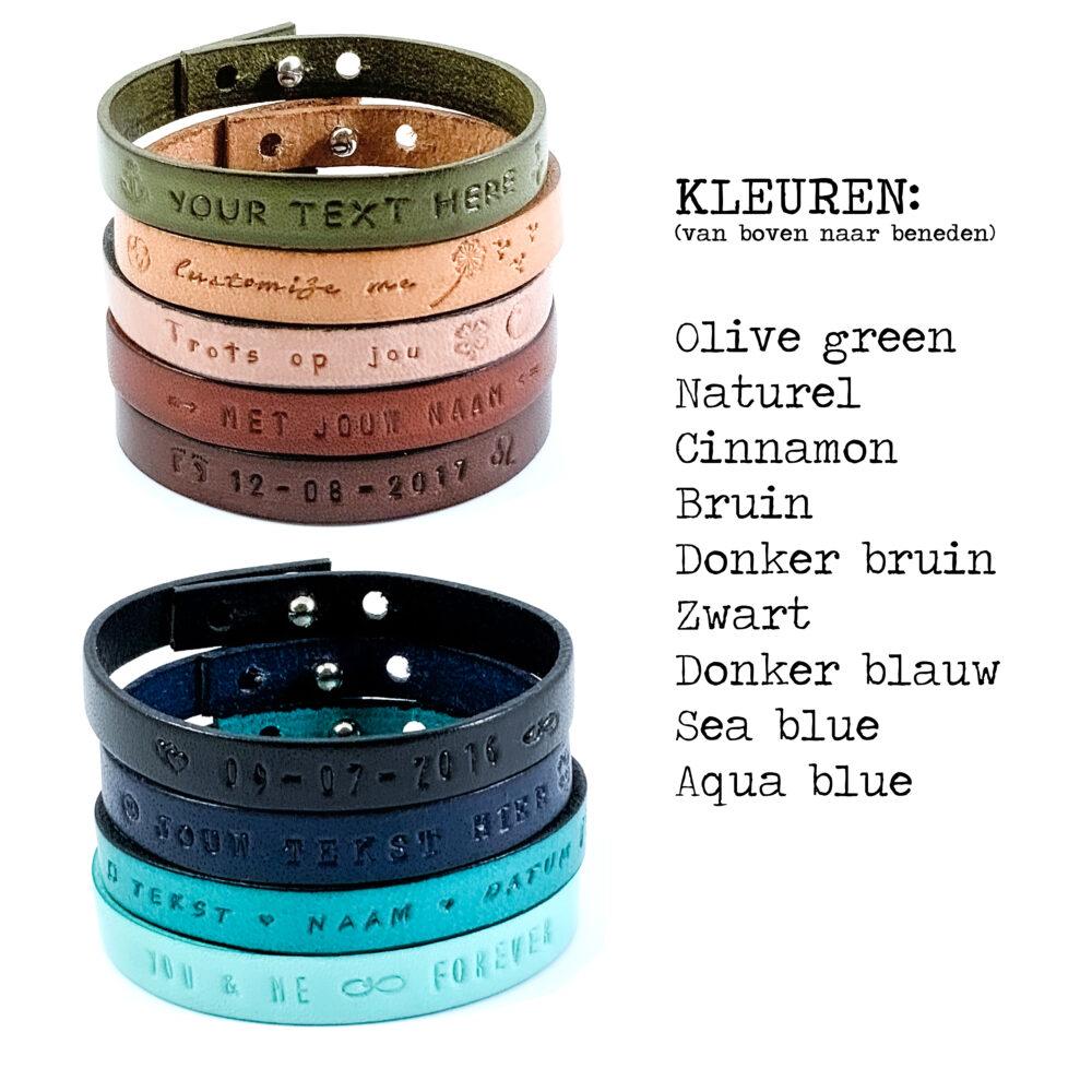 Tekst armband leer (9 verschillende kleuren leer)