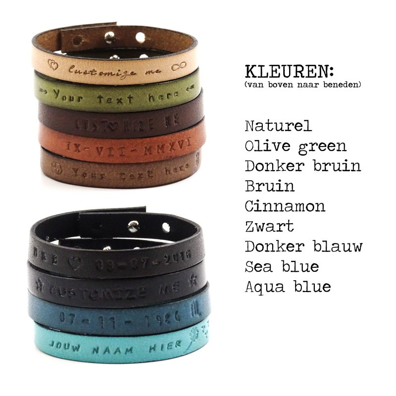 Tekst armband leer (9 verschillende kleuren leer)-9545