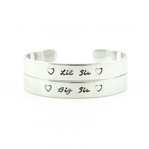 Setje: Big sis & Lil sis armbanden (zilver, goud of roségoud)-0