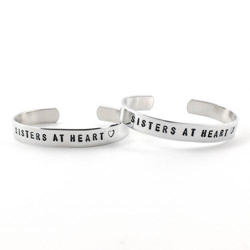Setje: Sisters at heart armbanden (zilver, goud of roségoud)-0