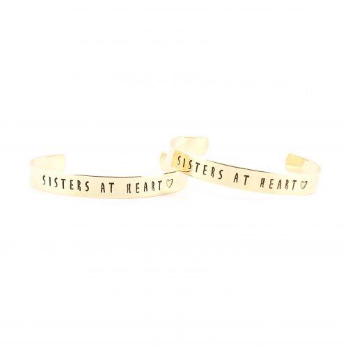 Setje: Sisters at heart armbanden (zilver, goud of roségoud)-8518