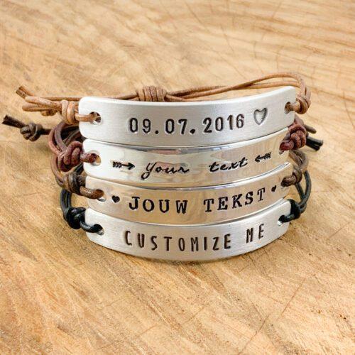 Tekst armbandje leer leren armband met tekst naam datum symbool