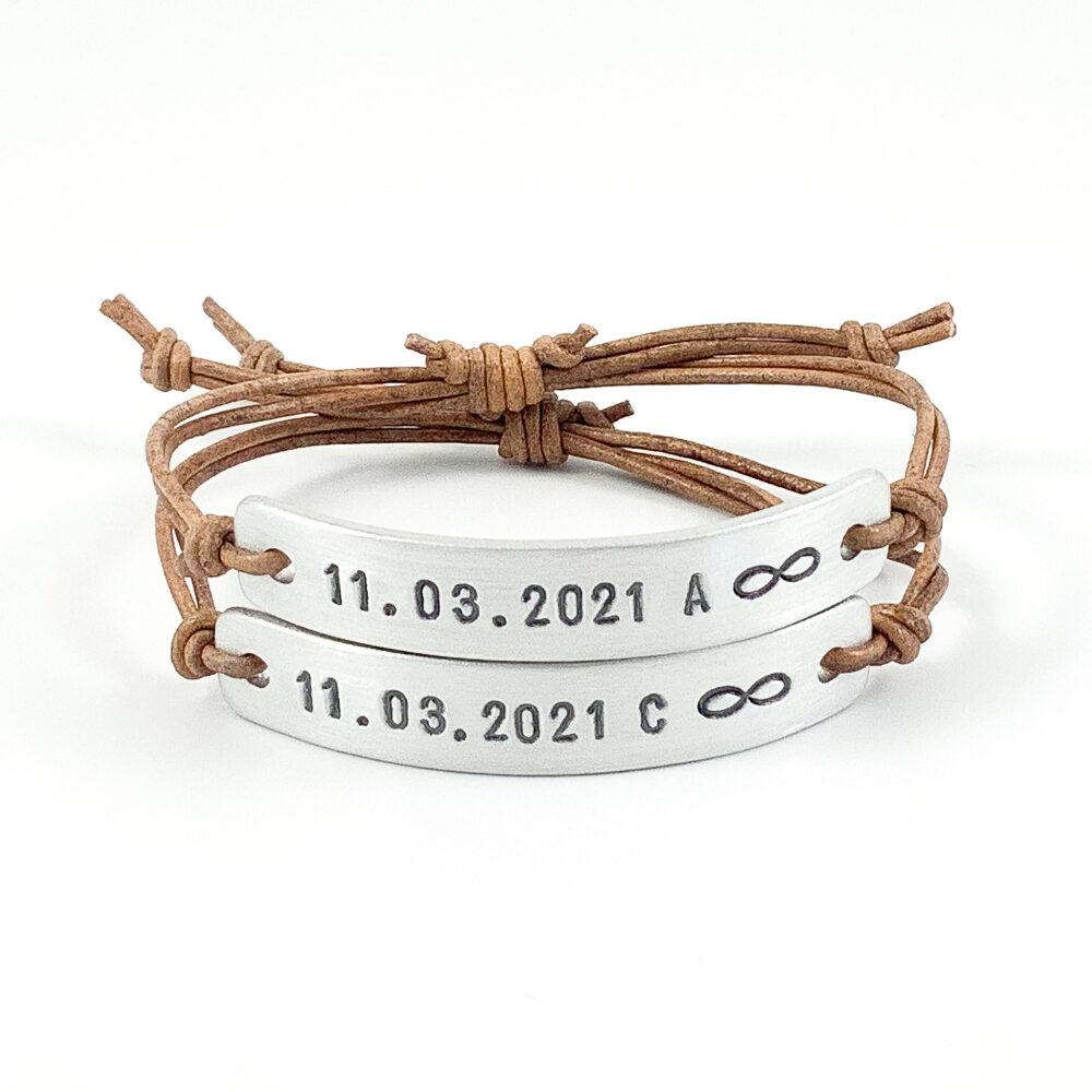 Armband met datum infinity leer
