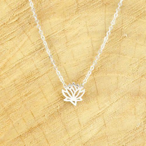 Ketting met lotus zilver