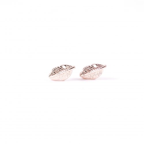 Oorbellen met veertje rosegoud