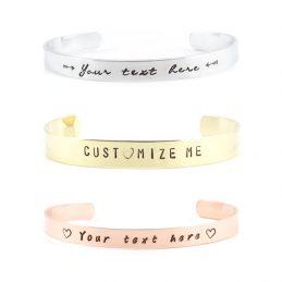 Persoonlijke tekst armband – zilver / goud / roségoud – 6 lettertypen – smal of breed