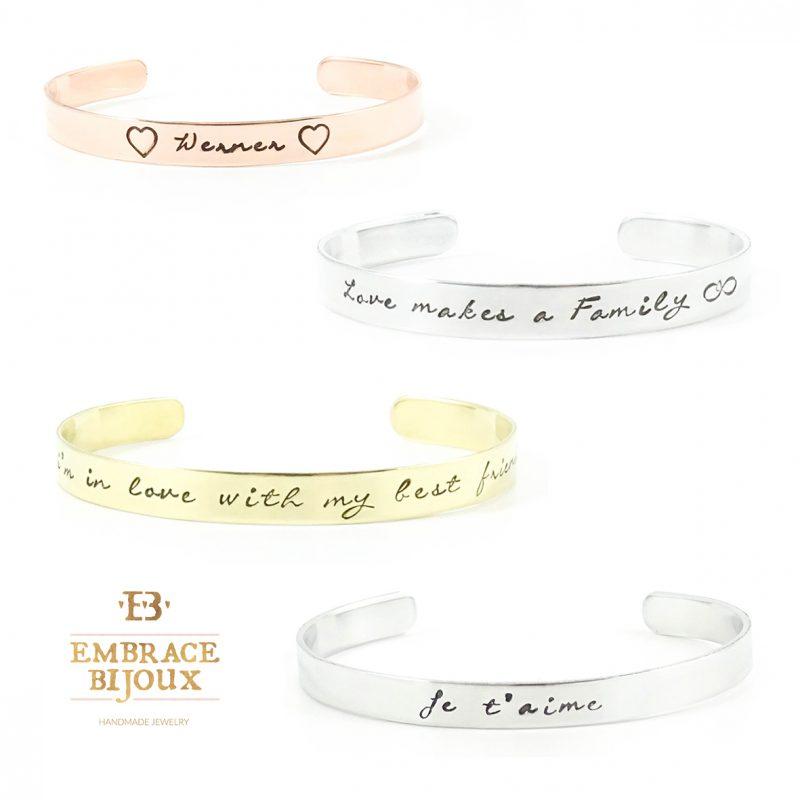 Persoonlijke tekst armband - zilver / goud / roségoud - 6 lettertypen - smal of breed-8756