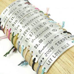 Armbandje met tekst – 20 kleuren koord