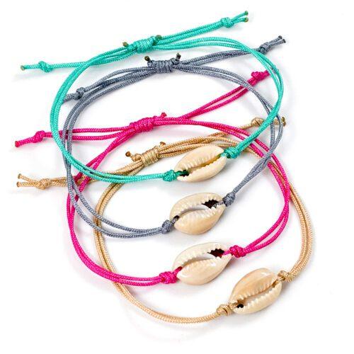 Armbandje met schelp kauri cowrie schelp armband geknoopt koord 20 kleuren mix and match