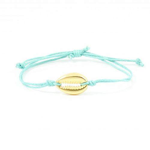 Turquoise armbandje schelp goud
