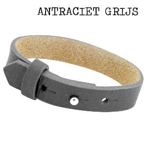 Leren armband met naam - datum - symbool sliders (verschillende lettertypen & kleuren leer)-9156