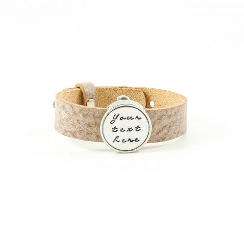 Leren armband met naam - datum - symbool sliders (verschillende lettertypen & kleuren leer)-0