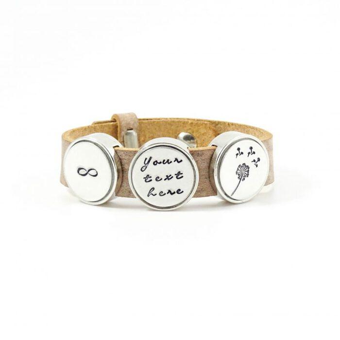 Leren armband met naam - datum - symbool sliders (verschillende lettertypen & kleuren leer)-8593