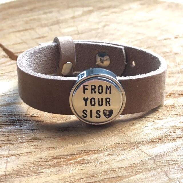 Leren armband met naam - datum - symbool sliders (verschillende lettertypen & kleuren leer)-9438
