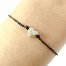 Armbandje 'in my heart' – zilver, goud, roségoud (20 kleuren koord)