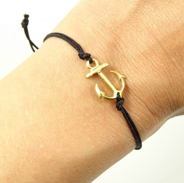 Armbandje met anker goud & zwart-8971
