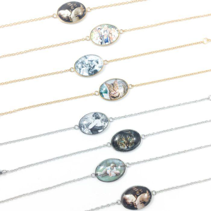 Armbandje met foto ovaal zilver goud rosegoud stainless steel echo foto huisdier kinderen gezin trouwen bruiloft armband