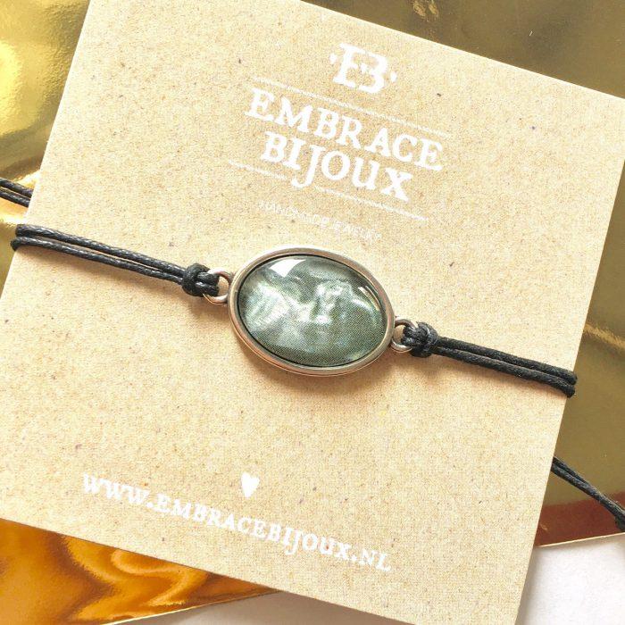 Armbandje met foto ovaal zilver, goud of rosegoud (20 kleuren koord)-9432