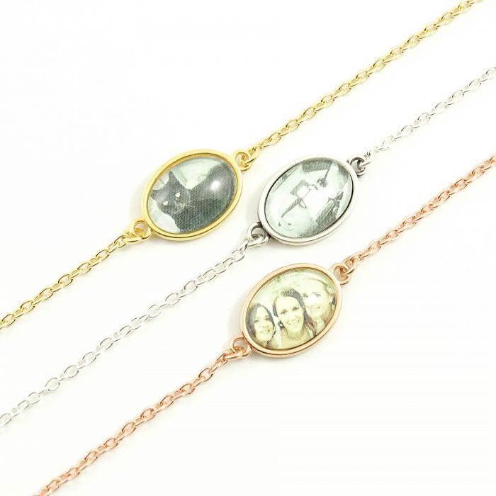 Armbandje met foto ovaal zilver, goud of rosegoud -0