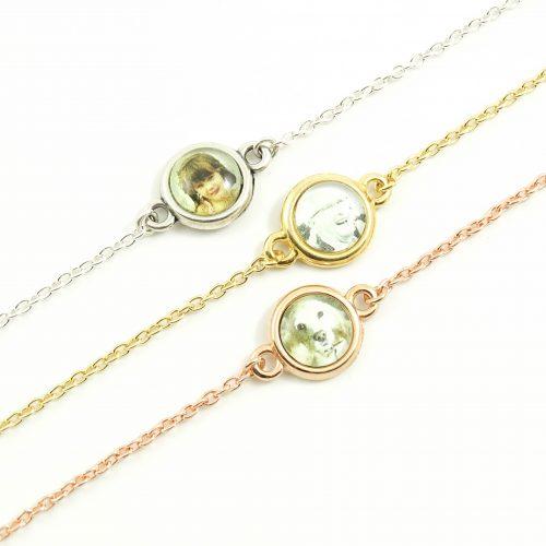 Armbandje met foto rond zilver, goud of rosegoud -0