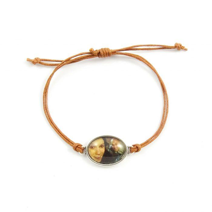 Armbandje met foto ovaal zilver, goud of rosegoud (20 kleuren koord)-9109