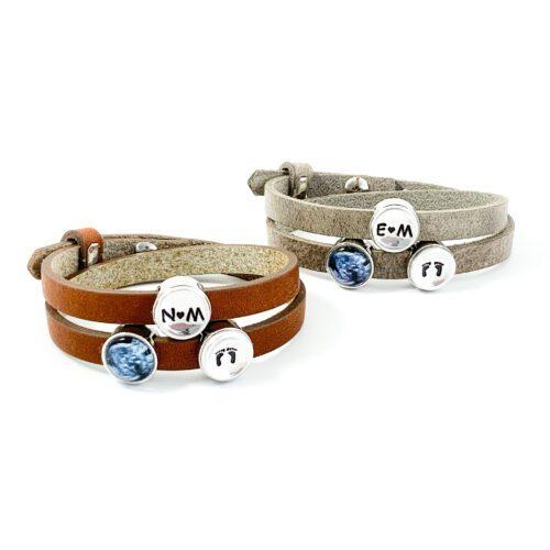 leren wikkel armband met echo foto en letters initialen