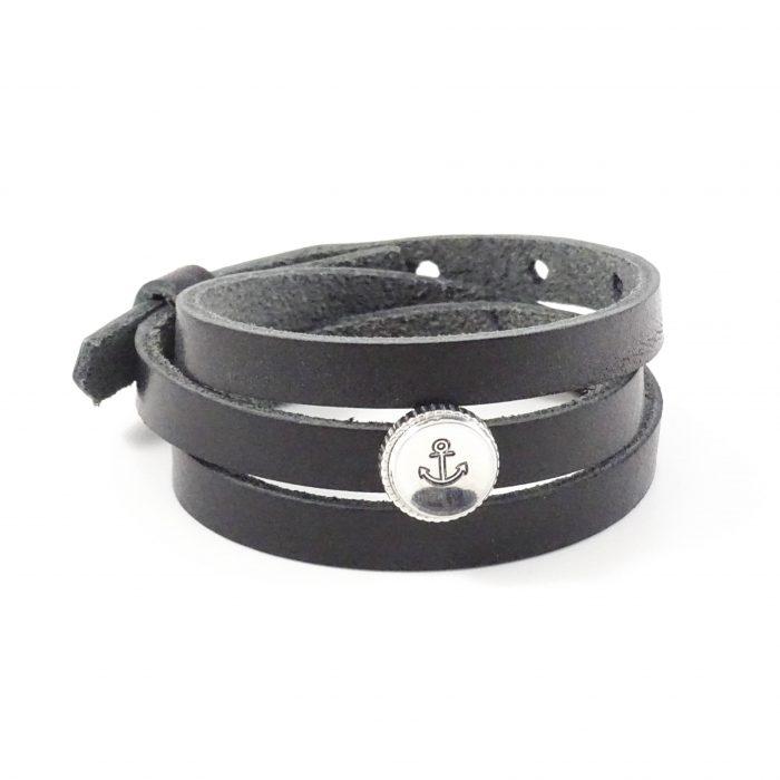 Leren wikkel armband met letter of symbool slider-9195