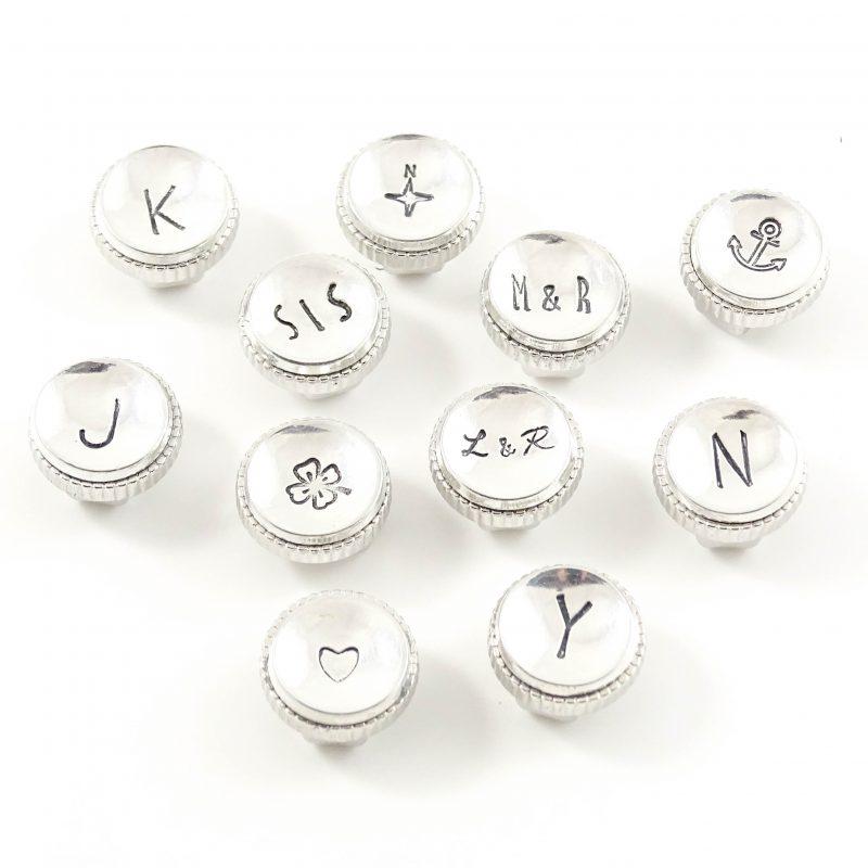 Leren wikkel armband met letter of symbool slider-9190