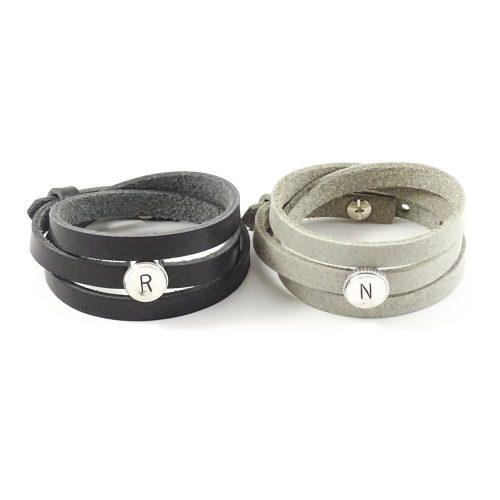 Leren wikkel armband met letter of symbool slider-0