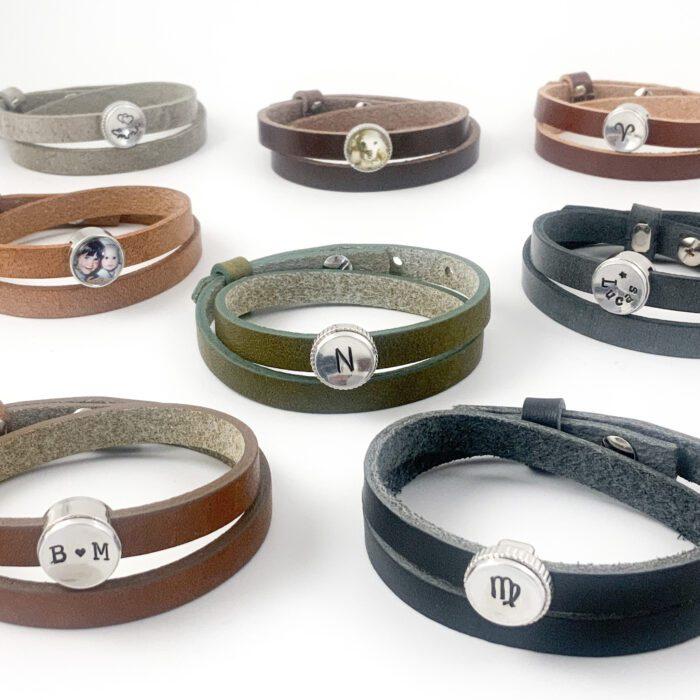 Armbanden van leer leren wikkel armband met naam symbool sterrenbeeld letter initiaal foto