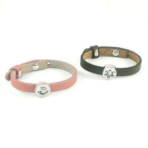 Leren armband met naam armbanden van leer met naam en symbool hartje