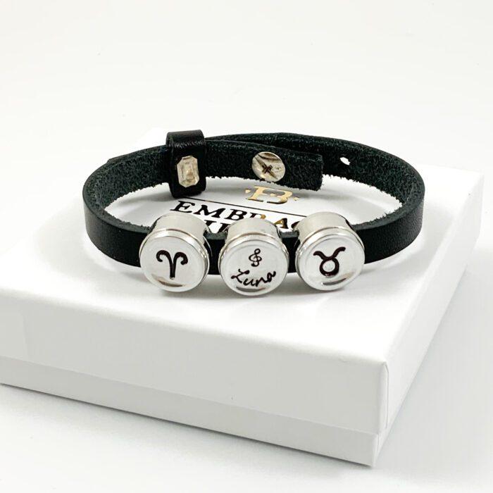 Leren armband met naam en sterrenbeeld ram stier