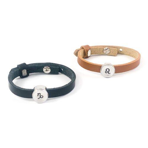 Leren armband met sterrenbeeld armbanden leer met sterrenbeelden horoscoop zodiac sign