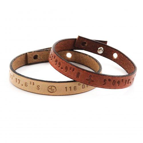 Coordinaten armband leer (9 kleuren leer)-0