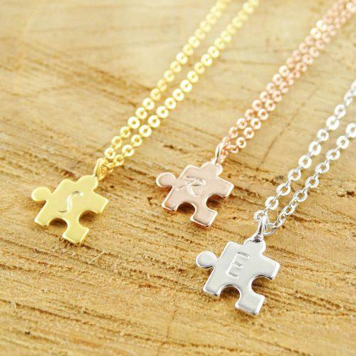 Ketting puzzelstukje met letter silver, gold,- rosegold plated-0