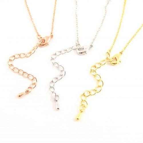 Kubus initialen kettinkje zilver-, goud,- of roségoud plated-9461