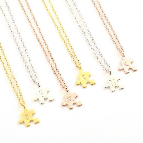 Ketting puzzelstukje met letter silver, gold,- rosegold plated-9462