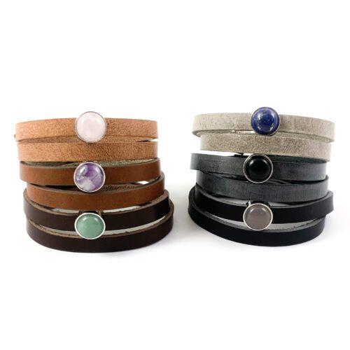 leren wikkel armband met edelsteen armbanden leer rozenkwarts groene aventurijn grijze agaat zwarte onyx amethist lapis lazuli