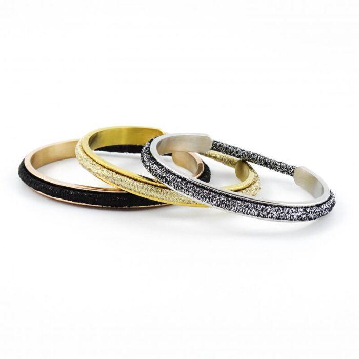 Armband voor haar elastiekje - zilver, goud, of roségoud stainless steel-9472