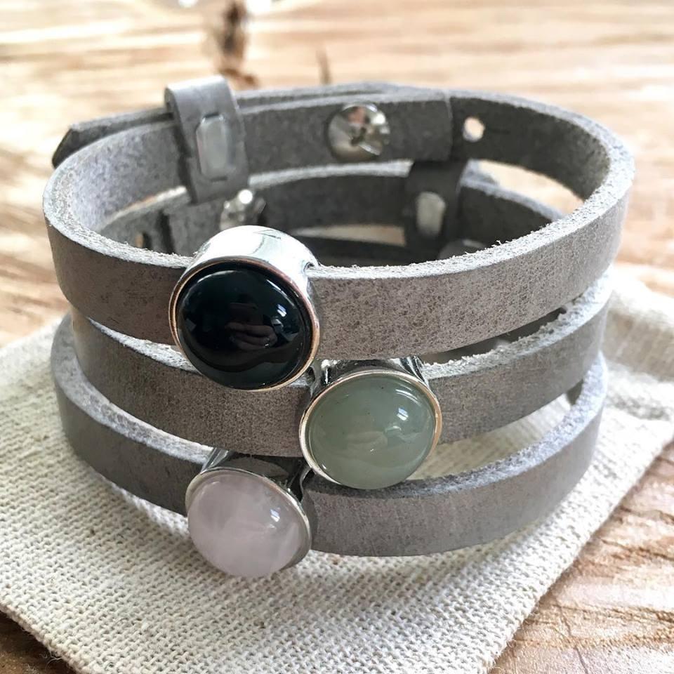 Leren armband of wikkel armband met edelsteen slider -9498