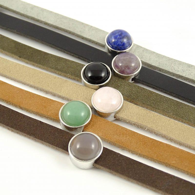 Leren armband of wikkel armband met edelsteen slider -9489