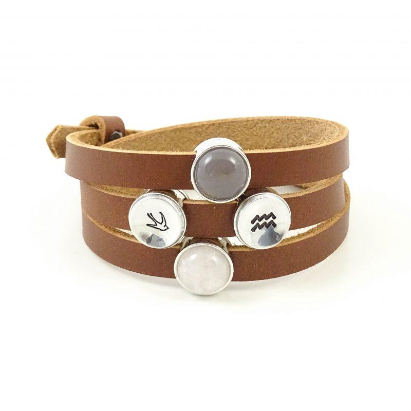 Leren armband of wikkel armband met edelsteen slider -9669